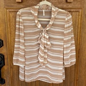My Story | Tan/cream striped blouse with tie, med